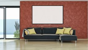 Modern bright interiors apartment with mockup poster frame 3D re. Ndering illustration vector illustration