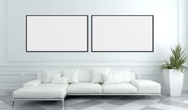 Modern bright interiors apartment with mockup poster frame 3D re. Ndering illustration stock illustration