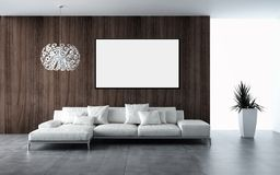 Modern bright interiors apartment with mockup poster frame 3D re. Ndering illustration royalty free illustration