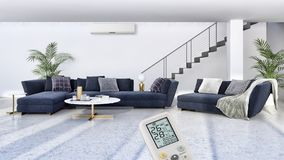Modern bright interiors Living room with air conditioning illustration 3D rendering computer generated image. Large luxury modern bright interiors empty room vector illustration