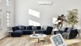 Modern bright interiors Living room with air conditioning illustration 3D rendering computer generated image. Large luxury modern bright interiors with air stock illustration