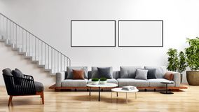 Modern bright interiors with mock up poster frame illustration 3. Large luxury modern bright interiors with mock up poster frame illustration 3D rendering vector illustration