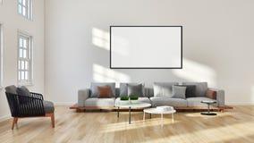 Modern bright interiors with mock up poster frame illustration 3. Large luxury modern bright interiors with mock up poster frame illustration 3D rendering stock illustration