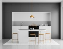 Modern bright kitchen interior. Minimalistic kitchen design with bar and stools. 3D illustration.  stock image