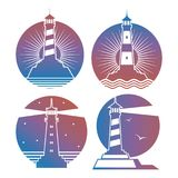 Modern bright lighthouses emblems or logos. Of collection. Vector illustration Stock Image