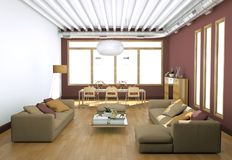 Modern bright living room interior design with sofas and red walls vector illustration