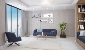 Modern bright living room, interior with sofa, table and lamp royalty free stock photos