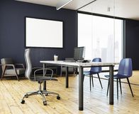 Bright office with empty banner stock image