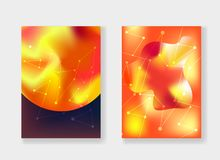 Abstract bright red and orange cosmic backgrounds. Modern bright red and orange cosmic backgrounds with gradient planets Sun and Mars, stardust and white Stock Image