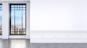 Modern bright room with big windows and concrete floor vector illustration