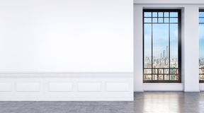 Modern bright room with big windows and concrete floor. 3d illustration royalty free stock photos