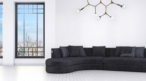 Modern bright room with big windows and sofa royalty free illustration
