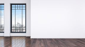 Modern bright room with big windows and wooden floor vector illustration