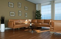 Modern bright room interior design with brown leather sofa. 3d Illustration Royalty Free Stock Photography