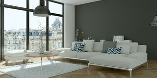 Modern bright skandinavian flat interior design. 3d Illustration stock photo