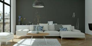 Modern bright skandinavian flat interior design. 3d Illustration royalty free stock photos