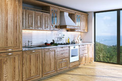 Modern bright wooden kitchen in villa on ocean island . 3D rende Royalty Free Stock Photo