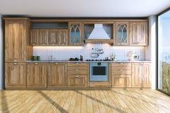 Modern bright wooden kitchen in villa on ocean island . 3D rende Royalty Free Stock Image