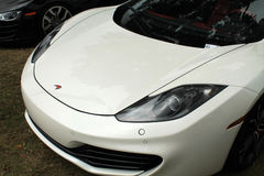 Modern british super sports car. Frontend belonging to McLaren MP4-12C supercar at car show Stock Photo
