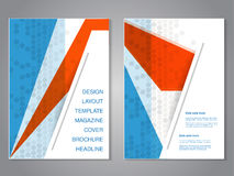 Modern brochure with abstract design, flyer with grey dotted background. Layout template. Aspect Ratio for A4 size. Poster of blue Royalty Free Stock Photos