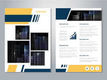 Modern brochure, abstract flyer with background of buildings. City scene. Layout template. Aspect Ratio for A4 size. Poster of yel Royalty Free Stock Photography