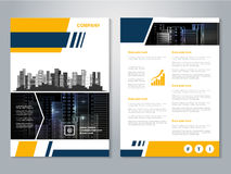 Modern brochure, abstract flyer with background of buildings. City scene. Layout template. Aspect Ratio for A4 size. Poster of yel Stock Images