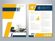 Modern brochure, abstract flyer with background of buildings. City scene. Layout template. Aspect Ratio for A4 size. Poster of yel Stock Photo