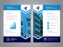 Modern brochure, abstract flyer with background of buildings. Layout template. Aspect Ratio for A4 size. Poster of blue, dark blue Royalty Free Stock Photography