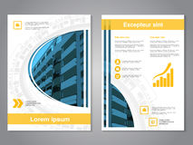 Modern brochure, abstract flyer with background of buildings. Layout template. Aspect Ratio for A4 size. Poster of blue, yellow Royalty Free Stock Photo