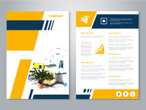 Modern brochure, abstract flyer with background of house interier. Layout template. Poster of yellow, dark blue, black and white c Royalty Free Stock Image