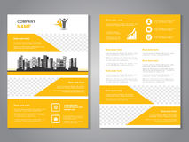 Modern brochure, abstract flyer with background of monochrome buildings. Layout template. Aspect Ratio for A4 size. Poster of yell. Ow, grey, black and white Royalty Free Stock Photos
