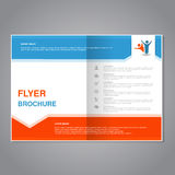 Modern brochure, abstract flyer with simple design. Layout template with arrow. Aspect Ratio for A4 size. Poster of blue, orange, Royalty Free Stock Photography