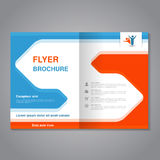 Modern brochure, abstract flyer with simple design. Layout template with arrows. Aspect Ratio for A4 size. Poster of blue, orange, Stock Photography