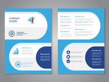 Modern brochure, abstract flyer, simple design with rounded shapes. Layout template. Aspect Ratio for A4 size. Poster of blue, dar Royalty Free Stock Image