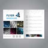 Modern brochure, abstract flyer with simple dotted design. Aspect Ratio for A4 size. Glossy poster of blue, pink, grey, golden, si Stock Images