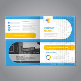 Modern brochure, abstract flyer, simple dotted design with background of monochrome buildings. Layout template. Aspect Ratio for royalty free illustration