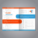 Modern brochure, abstract flyer with simple dotted design. Layout template. Aspect Ratio for A4 size. Poster of blue, orange, grey Royalty Free Stock Photography