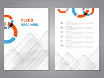 Modern brochure, abstract flyer with simple glass squared design. Layout template. Aspect Ratio for A4 size. Poster of blue, orang. E, grey and white color Royalty Free Stock Photo
