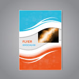 Modern brochure, abstract flyer with simple modern design. Aspect Ratio for A4 size. Poster of blue, grey, white and orange color. Stock Photos