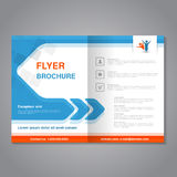 Modern brochure, abstract flyer with simple square design. Layout template with arrow. Aspect Ratio for A4 size. Poster of blue, o. Range, grey and white color Stock Illustration