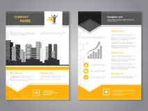 Modern brochure with arrow design, abstract flyer with background of monochrome buildings. Royalty Free Stock Image