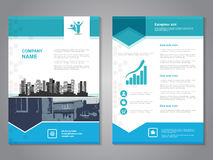 Modern brochure with arrow design, abstract flyer with background of monochrome buildings. Layout template. Aspect Ratio for A4  Royalty Free Stock Photography