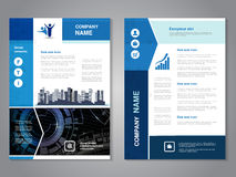 Modern brochure with arrow design, abstract flyer with technology background and with city scene. Layout template. Aspect Ratio fo Royalty Free Stock Photo