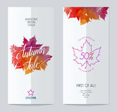 Modern brochure with autumn watercolour background Stock Photos