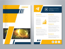 Modern brochure with blue yellow design, abstract flyer with technology background. Layout template. Poster, Magazine cover. Royalty Free Stock Images