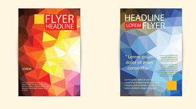Modern brochure cover and letterhead template low polygon geomet Royalty Free Stock Photography