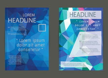 Modern brochure cover and letterhead template low polygon geomet Royalty Free Stock Photo