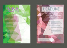 Modern brochure cover and letterhead template low polygon geomet Royalty Free Stock Images