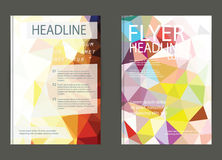 Modern brochure cover and letterhead template low polygon geomet Stock Images