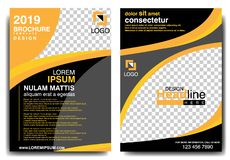 MODERN BROCHURE DESIGN TEMPLATE 2019 WITH BLACK AND ORANGE COLORS stock illustration